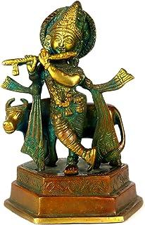 Lord Krishna Brass Idol Statue Sculpture for Pooja, Home Decor, Temple (Krishna-01)