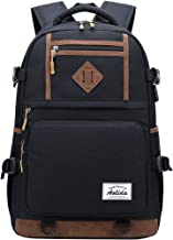 AGOWOO Teen College High School Backpack for Men with USB Charging Port Black