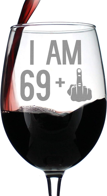 69 + Bombing new work 1 List price Middle Finger - 70th Men Women Wine Birthday for Glass