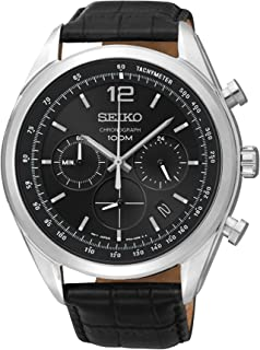 SSB097 Mens Watch Chronograph Stainless Steel Case Black Leather Strap