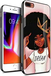 KITATA iPhone 8 Plus Case iPhone 7 Plus Cases for Women Girly Cover Protective, African American Afro Black Girls Africa Melanin Crown Dream Design, Slim Fit Thin Grip Soft TPU and Hard Plastic