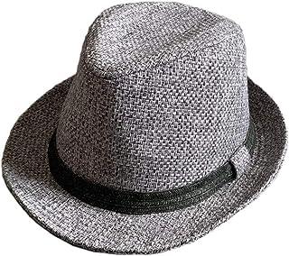 no brand (カラー : グレー ) 帽子 BIG L サイズ フェイク ジュート 麻 風 リネン ストローハット 中折れハット 春 夏 ハット サイズ調整 形状記憶 男女兼用 父の日