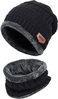 bc6cfd71c7e31e Fantastic Zone 2-Pieces Winter Beanie Hat Scarf Set Warm Knit Hat Thick  Fleece Lined