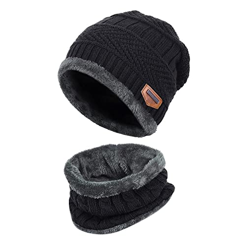 ea88cf8eb1940 Fantastic Zone 2-Pieces Winter Beanie Hat Scarf Set Warm Knit Hat Thick  Fleece Lined