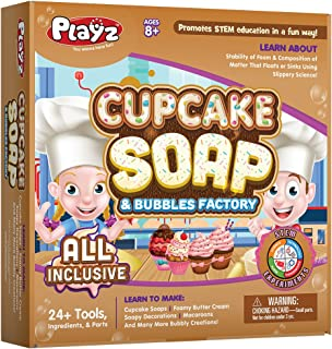 Playz Cupcake Soap & Bubbles DIY Science Kit - Fun STEM Gift for Age 8, 9, 10, 11, 12 Year Old Girls and Boys - Educationa...
