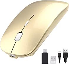 OKIMO Rechargeable Wireless Mouse, 2.4Ghz Silent Computer Office Portable Slim Optical Mouse with USB Receiver Type-C, 3-L...