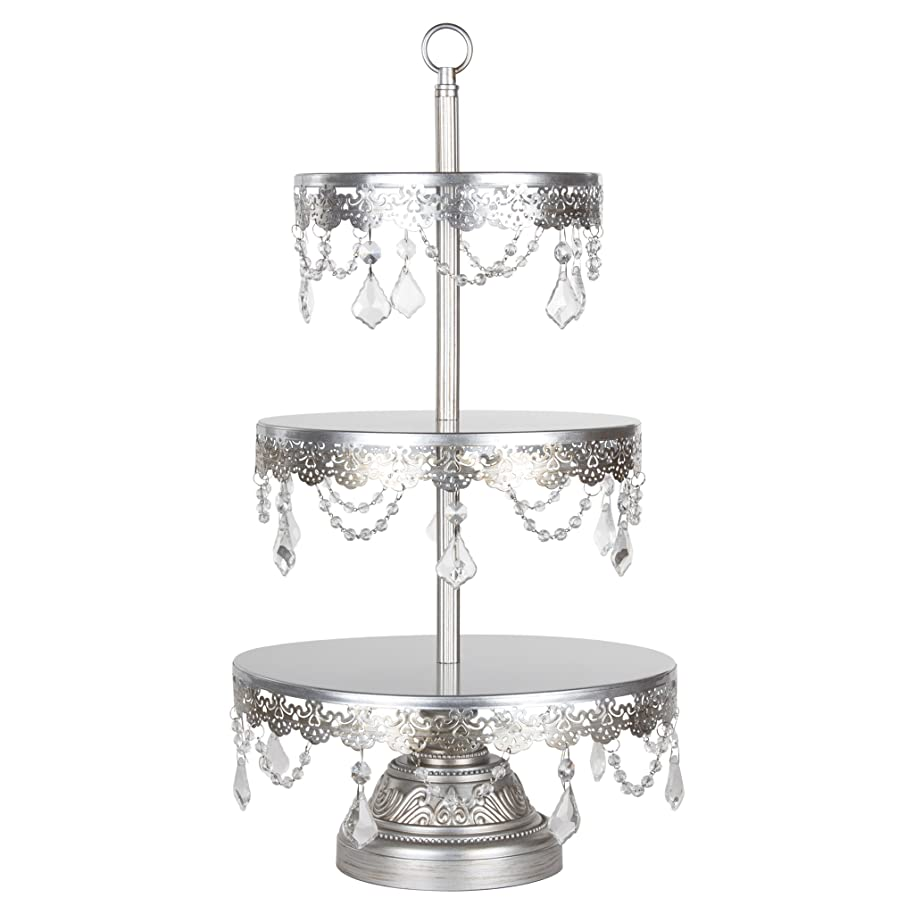 Amalfi Décor 3 Tier Dessert Cupcake Stand, Antique Glass Crystal Draped Metal Display Tower for Weddings Events Birthdays Party Plate Pedestal, Sophia Collection (Silver)