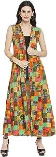 INDIBELLE Women's Rayon Printed Shrug (IBCP252GR_S, Multicolour, S)