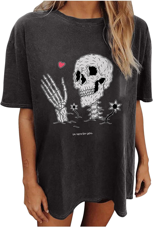 TARIENDY Retro Short Sleeve Blouse for Women Round Neck Tops Skull Moon Print Tees Loose Oversized Tshirt
