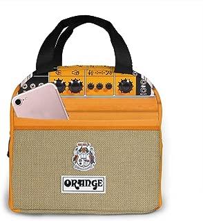 忙しいお得な情報新しいレトロなオレンジギターエレクトリックアンプアンプIphoneランチバッグ、再利用可能な絶縁ランチバッグクーラートートボックスフロントポケットジッパー閉鎖女性男性作業ピクニック