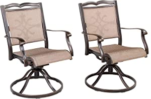 CW Chair Dining Cast Aluminum Swivel Rocker, Rust-Free Metal Patio Furniture Chairs for Outdoor Lawn Garden Backyard Set of 2, Bronze