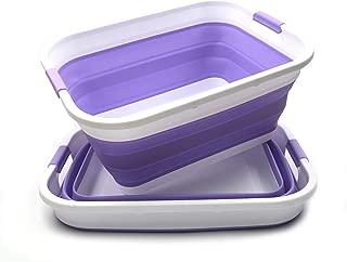 SAMMART Collapsible Plastic Laundry Basket Set - Foldable Pop Up Storage Container/Organizer - Portable Washing Tub - Space Saving Hamper/Basket (2, Lt. Purple)