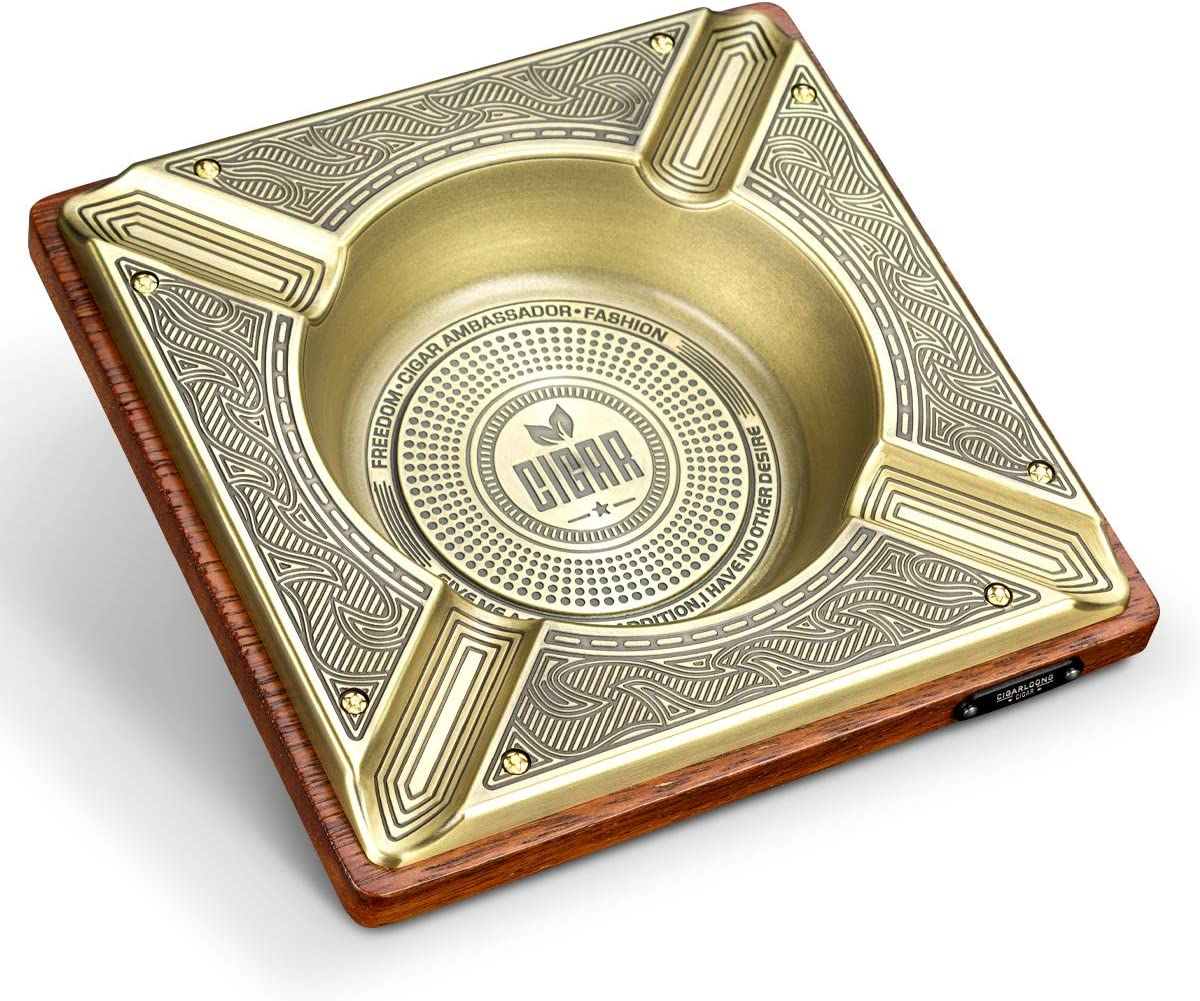 CIGARLOONG Cigar Ashtray Engraving Large H and Metal New popularity Wood Max 77% OFF Square