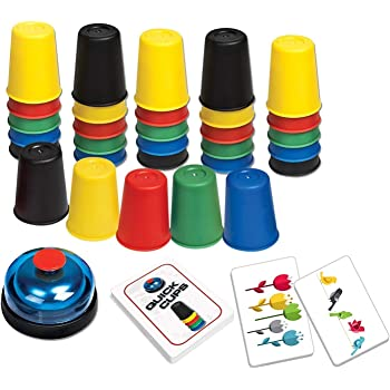 Quick Cups Games for Kids, LUXJET Classic Cups Game for Kids Flying Parent-Child Interactive Game with 24 Picture Cards, 30 Cups (6 Sets of 5 Colors Each), Bell & Instruction