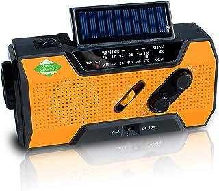Service Survival Emergency Radio & NOAA Weather Radio | 2000mAh Hand Crank Radio & Battery Powered Radio AM/FM NOAA Solar Radio Weather Radio Weather Radio LED Flashlight USB Power Charger