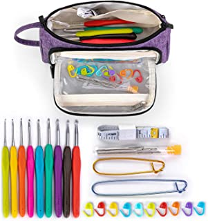 Teamoy Kits Crochet Tricot avec Sac pour Aiguilles à Crochet, Kit Débutant Crochet avec 9Pcs Aiguilles à Crochet et 22Pcs ...
