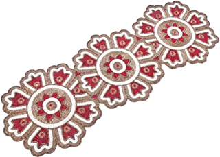 Linen Clubs Hand Made Beaded Table Runner 13x36 Inch in Maroon Gold Ivory Colors,Produced by Skilled Village Artisans in India - A Beautiful Complements to Dinner Table Decor Offered