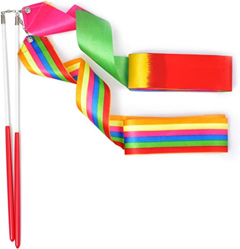 huianer Dance Ribbons Streamers Gymnastics Ribbon Wands Rods for Children Art Dances, Baton Twirling, 2 PCS