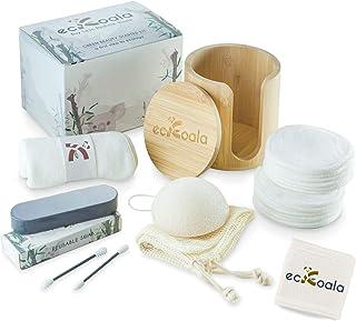 ecKoala® Kit Zéro Déchet – 16 Cotons Démaquillant Lavables + boite Bambou + Bandeau..