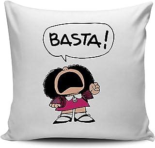 Promini Funda de almohada decorativa de lona Mafalda Basta funda de cojín para decoración del hogar para sofá cama de 26 x 26 pulgadas