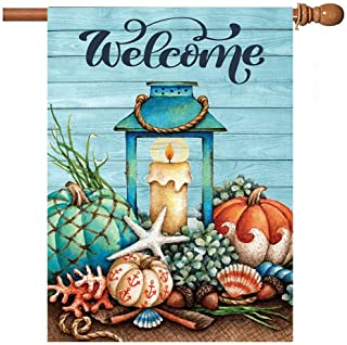 Starfish Wooden Summer Welcome Garden Flag 28x40 inch Double Sided Decorative Tropical Beach Shells House Yard Flags for Spring Summer Garden Yard Outdoor Indoor Lawn Farmhouse Outside Decoration
