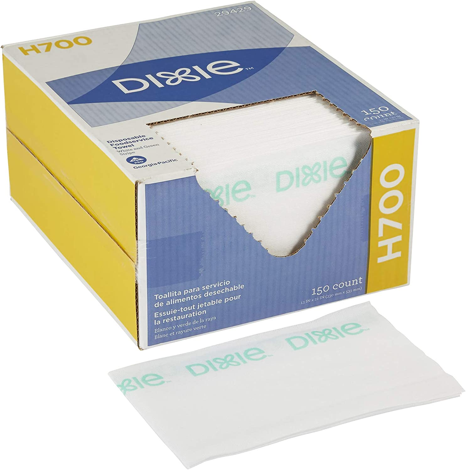 Dixie H700 Disposable Foodservice Towel by GP PRO (Georgia-Pacific), 29429, White & Green Stripe, 1 Box of 150 Wipers