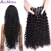 Ali Moda Deep Wave Curly Hair 3 Bundles 100% Unprocessed Peruvian Human Curly Hair Weave Extensions Natural Color (16 18 20)
