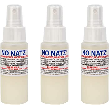 No Natz | Gnat, Mosquito and Biting Flies Repellant | Effective Personal Botanical Bug Spray | Hand-Crafted DEET-Free Hypoallergenic | Non-Greasy Formula (3, 2oz.)