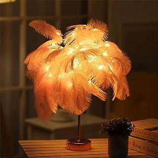 Lámpara de pluma de avestruz de 19 pulgadas, lámpara de alambre de cobre LED con control remoto, lámpara de mesa artificial DIY, luz nocturna para decoración del hogar. (Rosado)
