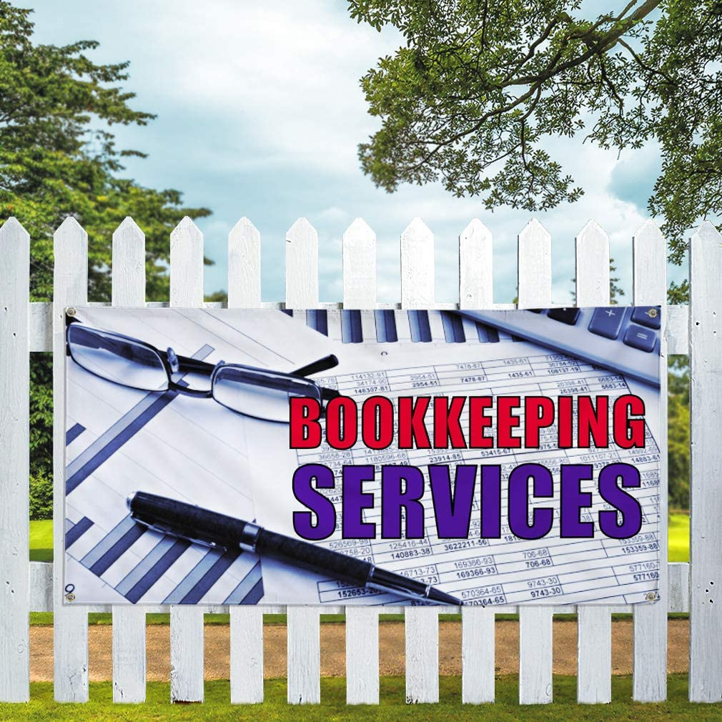 Vinyl Banner Multiple Sizes Bookkeeping Services Advertising Printing Business Outdoor Weatherproof Industrial Yard Signs 10 Grommets 60x144Inches