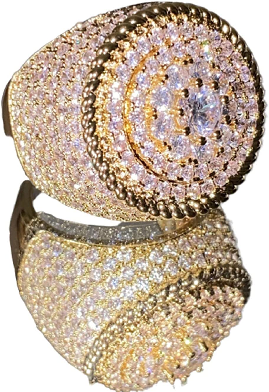 Shop-iGold 14k Gold Ranking integrated 1st place Finish Miami Cuban fo Pinky Iced Ring OFFicial site CZ Out