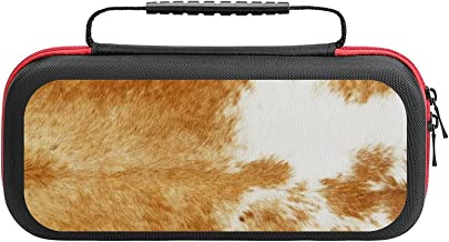 $26 » Golden Brown Cow Case Compatible with Switch Case Protective Carry Bag Hard Shell Storage Bag Portable Travel Case for Swi...