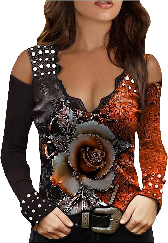 LEXUPA Sweaters Casual Long Women's Fashion Loose Print V-Neck Off Shoulder Long Sleeve T-Shirt Tops