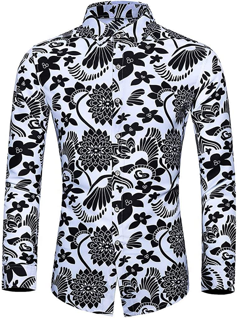 Mens Long Sleeve Slim Fit Chinese Ink Painting Printed Art Style Casual Business Dress Shirt