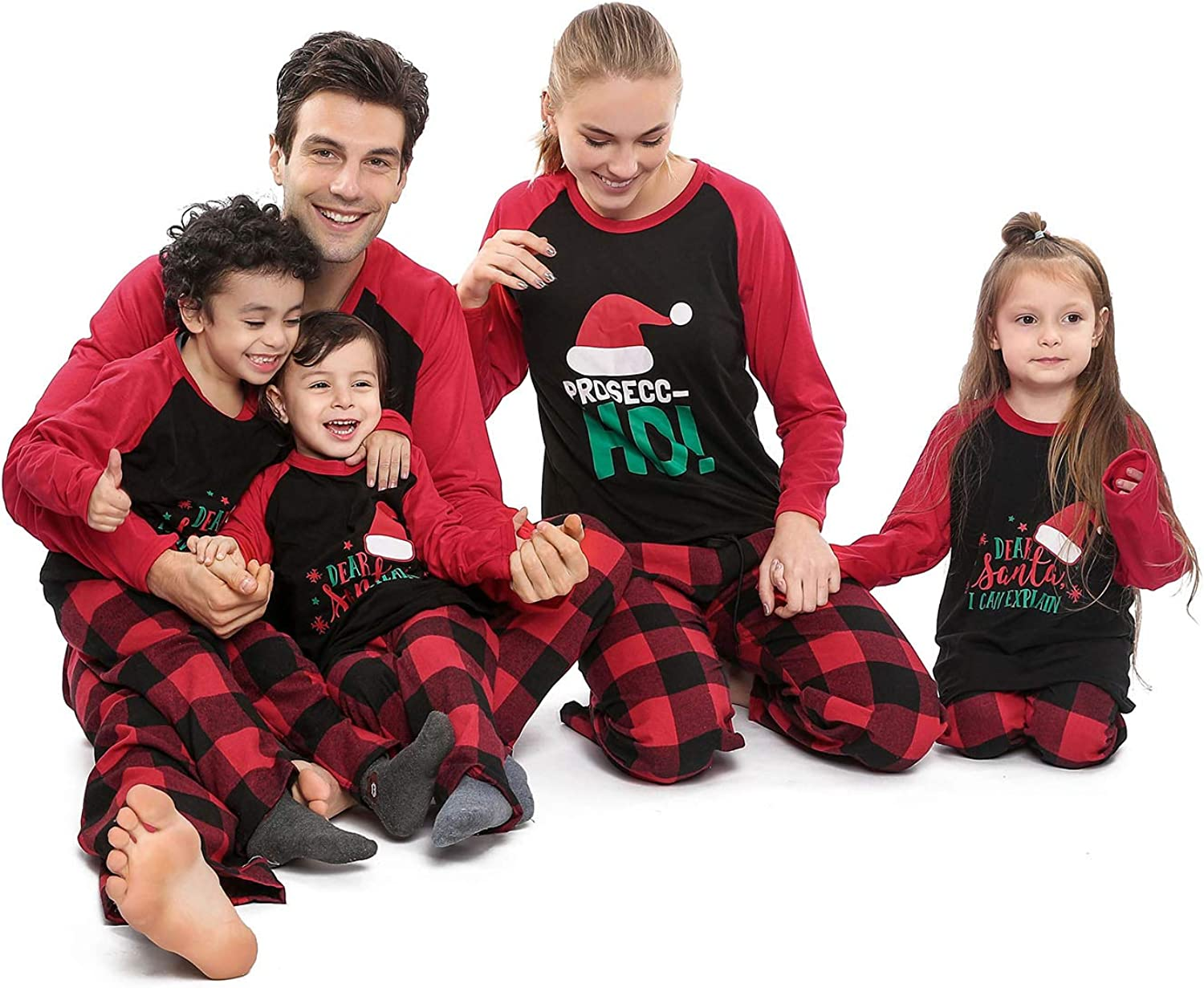 Matching Family Christmas Pajamas Funny Letter Printed Tops and Red Plaid Pants Holiday Sleepwear PJs Set