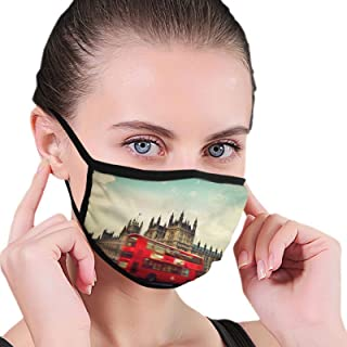Face Mask England - London Black Border Masks Dustproof Balaclava Washable Mouth Cover For Sport Outdoor Activities
