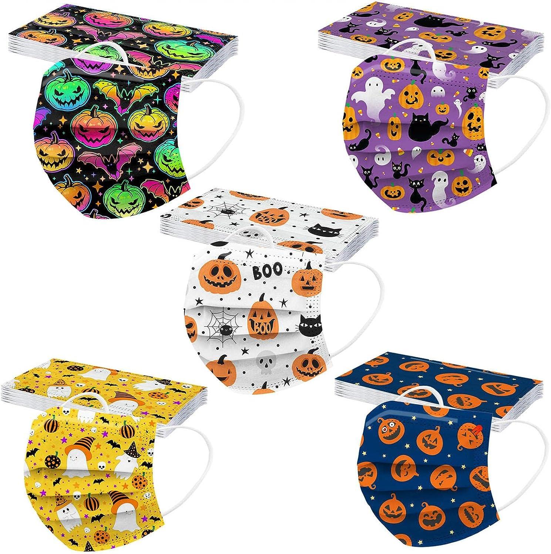 FACAIAFALO 50 unid Unisex Adulto Cara Protector Mujeres Universal 3 Capa Moda Impresión de patrones de Halloween elásticoLoop Bandanas bufanda