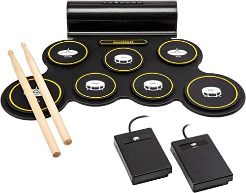 2021 Ivation Portable Electronic Drum Pad - Digital Roll-Up Touch Sensitive Drum Practice Kit - 7 Labeled Pads 2 Foot Pedals Kids Children Beginners (with Speaker and Built popular in Rechargeable new arrival Battery) online sale