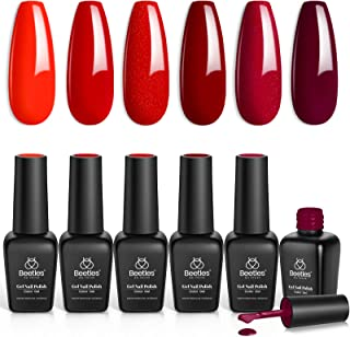 Beetles Red Gel Nail Polish Set - 6 Colors Bloody Mary Collection Popular Shimmer Red Burgundy Gel Polish Kit Mother's Day...