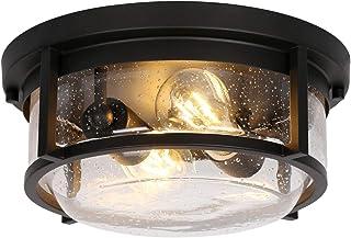 چراغ سقفی داخلی 2-چراغ داخلی ، وسایل روشنایی سقفی حمام حمام ، پایان برنز مالش روغن با سایه شیشه ای بذر برای ایوان ، ورودی ، اتاق خواب ، ETL ذکر شده (لامپ شامل نمی شود)