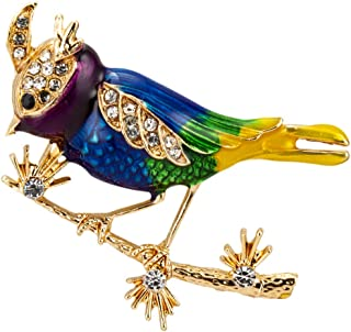 Knighthood Multicolour Sparrow Bird with Gold and Swarovski Detailing Brooch/Lapel Pin