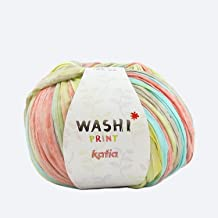 Washi Print Yarn, Multicolor, 70% Polyester - 30% Viscose, 100 grs. / 3 oz. ½ 100 MTS. / 109 yds. (Yellow - Turquoise - Coral)