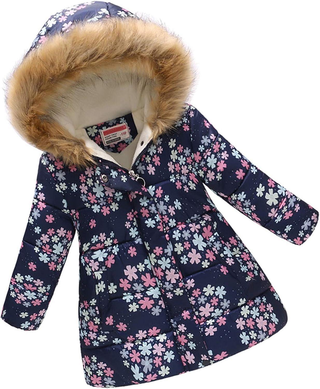 puseky Girls Winter Coats Zip-Off Fur Hood Children Clothes Cotton Lightweight Jacket