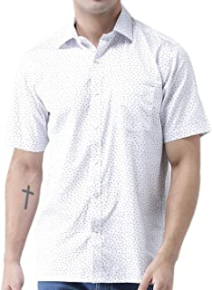 Zeal Mens Half Sleeve Cotton Printed Shirt White and Blue
