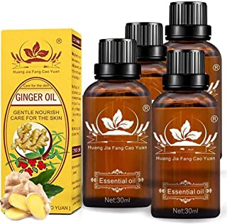 Sore Muscle Massage Oil for Body,4 Pack 100% Pure Natural Lymphatic Drainage Ginger Oil,SPA Massage Oils,Repelling Cold an...