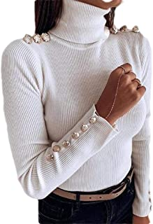 Womens Solid Stretch Turtleneck Buttons Long Sleeve Slim Fit Knit Jumper Sweater