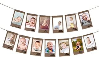 Newborn to 12 Month Baby Photo Banner,1-12 Month Photo Prop Party Bunting,One Years Old Birthday Party Celebration Decorat...