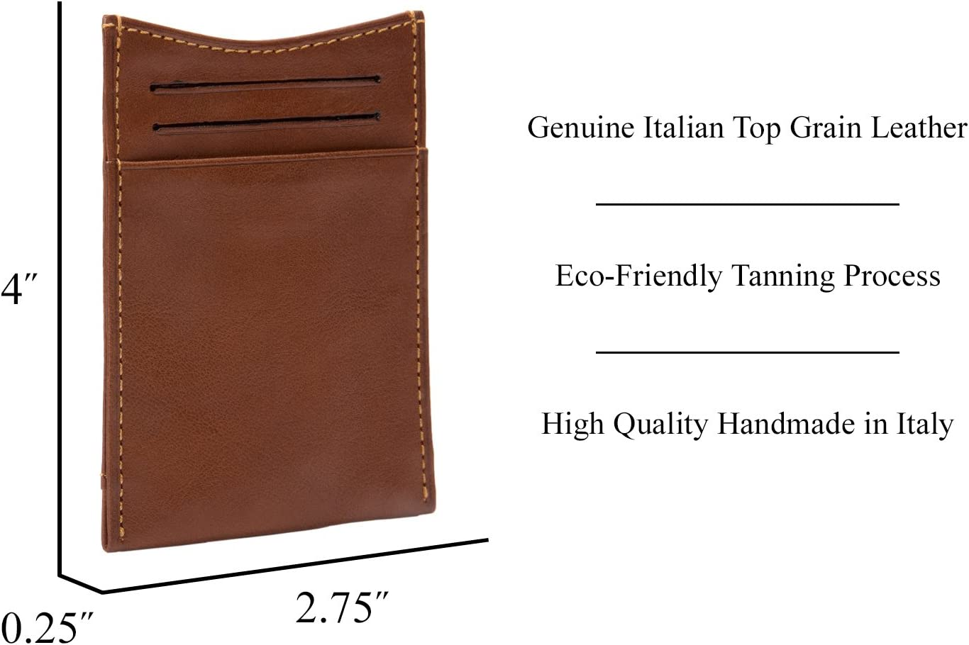 Mens Minimalist Front Pocket Money Clip Wallet & Card Holder Italian Leather (Cognac, Non-Personalized)
