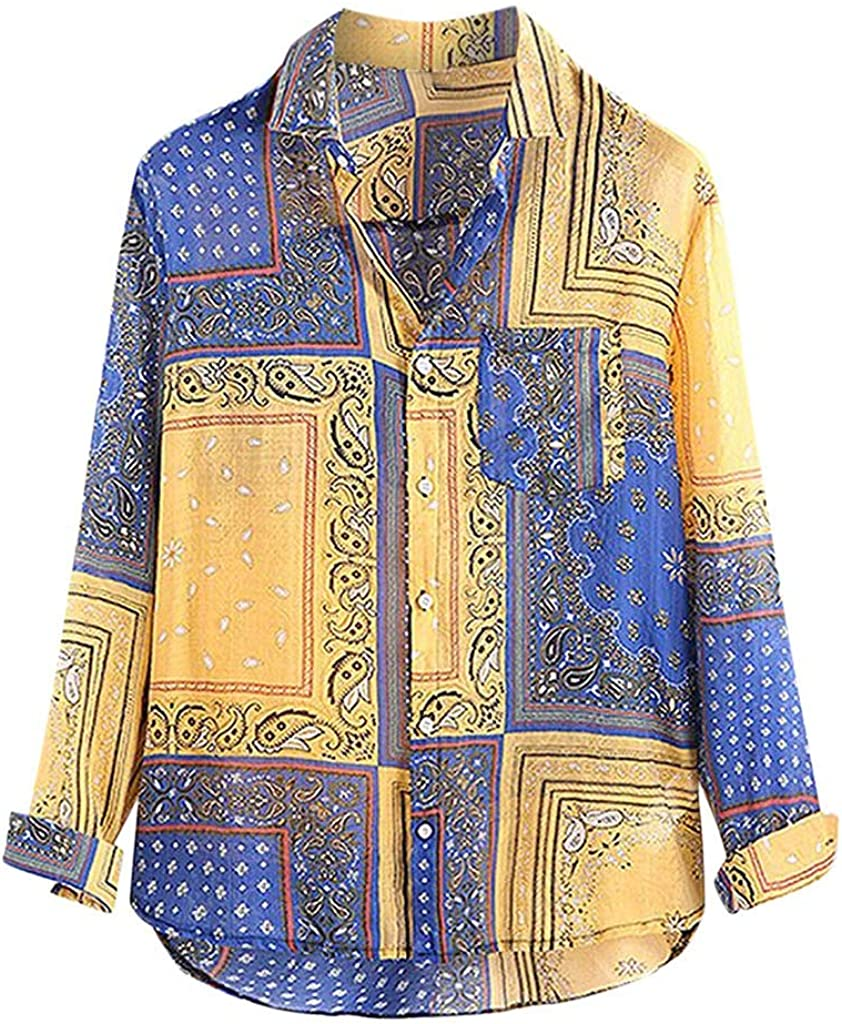 UBST Boho Shirts for Mens, Fall Button Down Ethnic Vintage Lapel Hawaiian Shirt Long Sleeve Loose Casual Beach Tops
