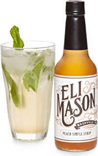 Eli Mason Peach Cocktail Mixer - All-natural Peach Cocktail Syrup - Uses Real Cane Sugar, Georgia Peaches & Proprietary Blend Of Cocktail Bitters - Made In USA, Small Batch Cocktail Mixes - 10 Ounces